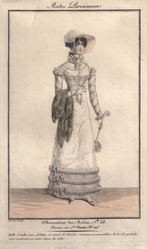 A Regency Fashion Print from Observateur des Modes, c 1819-1823
