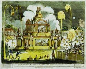 Temple of Concord with rockets bursting overhead in Green Park. 1814