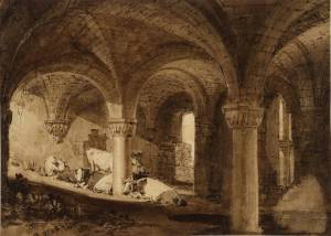 The Crypt of Kirkstall Abbey circa 1806-7 by Joseph Mallord William Turner