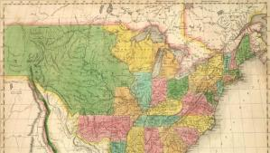 A map of the United States by mapmaker John Melish, published in 1820, following the Anglo-American Convention of 1818. Courtesy of CBS News.