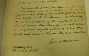 James Monroe's note to the US Senate regarding the Treaty of 1818